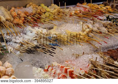 Chilled Skewers For Barbecue At Jalan Alor Food Street In Kuala Lumpur. Popular Asian Food. Large Pi