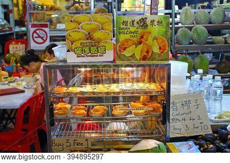 Kuala Lumpur, Malaysia - March 15, 2019: Durian Portuguese Tart And Durian Volcanic Tart On Bakery S