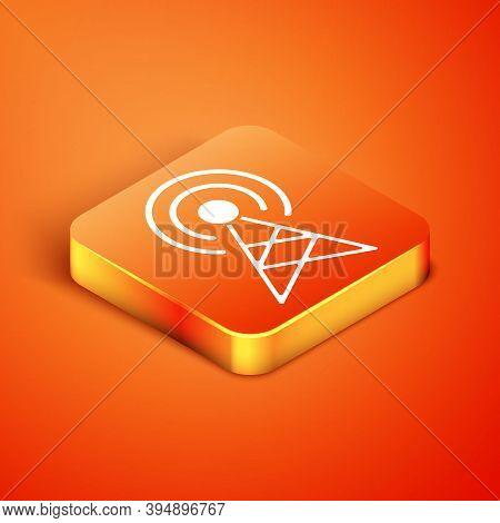 Isometric Antenna Icon Isolated On Orange Background. Radio Antenna Wireless. Technology And Network