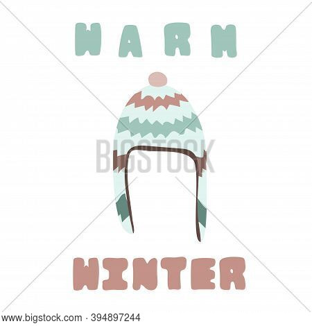 Warm Knitted Winter Hat With Little Pom Pom. Warm Winter.