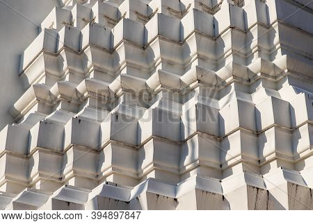 Sunlight Passing Through The Exterior Of The Ancient Stupa. Abstract Geometric Pattern With Lines Of