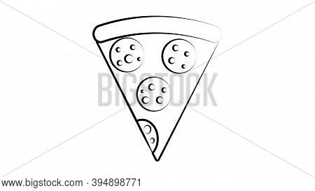 Slice Of Pizza On Thin Crust, White Background, Vector Illustration. Pizza With Round Pieces Of Sala