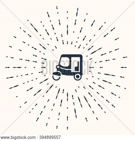 Grey Taxi Tuk Tuk Icon Isolated On Beige Background. Indian Auto Rickshaw Concept. Delhi Auto. Abstr