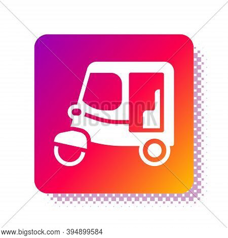 White Taxi Tuk Tuk Icon Isolated On White Background. Indian Auto Rickshaw Concept. Delhi Auto. Squa