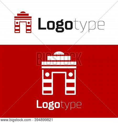 Red India Gate In New Delhi, India Icon Isolated On White Background. Gate Way Of India Mumbai. Logo