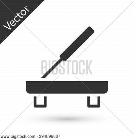 Grey Scented Spa Stick On A Wooden Stand Icon Isolated On White Background. Incense Stick. Cosmetic