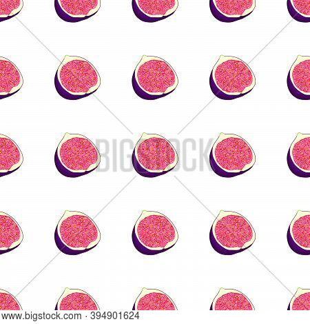 Illustration On Theme Big Colored Seamless Purple Fig, Bright Fruit Pattern For Seal. Fruit Pattern