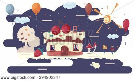Cupcake Baking House With Two Cherries On The Roof, On A Glaze Glade Among Trees And Flowers, Flat V