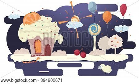 House Cupcake Cake With Orange On The Roof, In A Glade Of Icing, Among Trees Flowers And Balloons, F