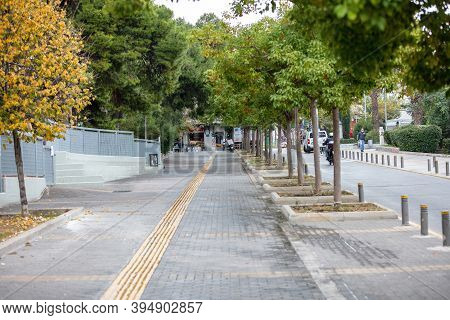 Covid19 Coronavirus Lockdown. Empty Street In Halandri City Center
