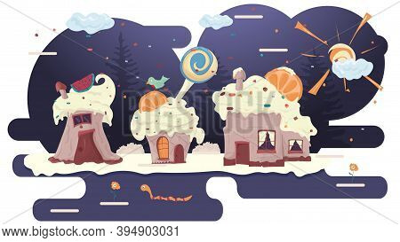Three Cupcake Houses With Berries On The Roof, In A Glade Of Icing, Among Trees Of Flowers, Flat Vec