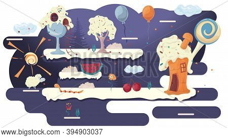 Home Cooking Cakes, In A Glade Of Icing, Among Trees Of Flowers, Flat Vector Illustration For Design