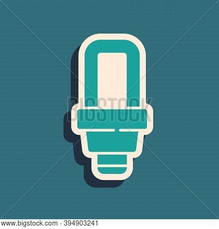 Green Led Light Bulb Icon Isolated On Green Background. Economical Led Illuminated Lightbulb. Save E