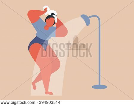 Woman Taking Shower. Cool Vector Flat Design Illustration On Daily Routine With Confident Adult Fema