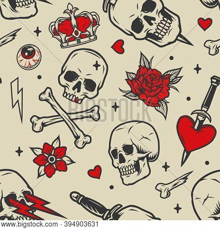Vintage Tattoos Seamless Pattern With Skulls Royal Crown Flowers Human Eye Lightning Crossbones Hear