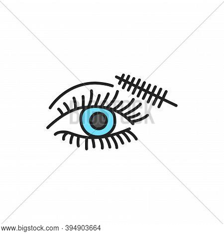 Dye Eyelashes Color Line Icon. Pictogram For Web Page, Mobile App, Promo.