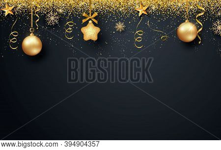 Greeting Card, Invitation With Happy New Year 2021 And Christmas. Metallic Gold Christmas Balls, Dec