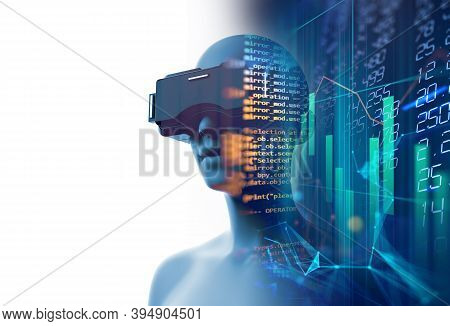 3d Rendering Of Virtual Human In Vr Headset On Futuristic Technology And Programming  Languages Back