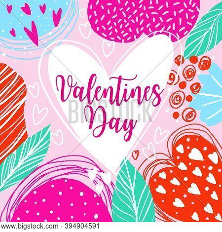 Cute Trendy Valentines Day Background, Memphis Style Love Card, Vector