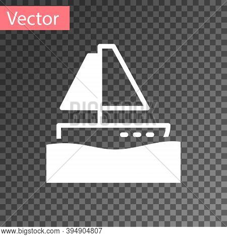 White Yacht Sailboat Or Sailing Ship Icon Isolated On Transparent Background. Sail Boat Marine Cruis