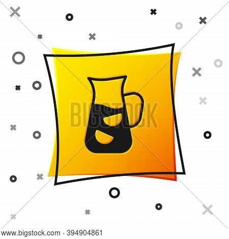 Black Sangria Icon Isolated On White Background. Traditional Spanish Drink. Yellow Square Button. Ve