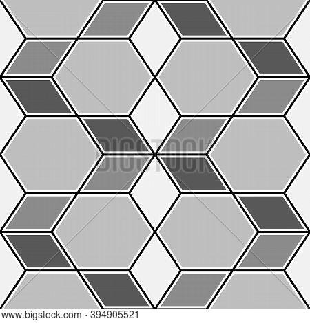 Rhombuses, Hexagons, Diamonds, Lozenges. Mosaic. Flooring Background. Ethnic Tiles Motif. Geometric