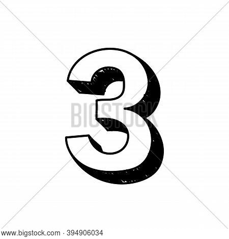 Number 3 Hand-drawn Font Alphabet. Vector Illustration Of Arabic Numerals Number 3. Hand-drawn Black