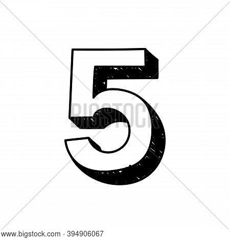 Number 5 Hand-drawn Font Alphabet. Vector Illustration Of Arabic Numerals Number 5. Hand-drawn Black