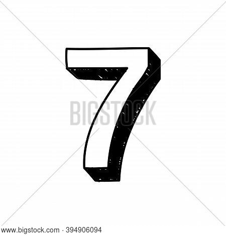 Number 7 Hand-drawn Font Alphabet. Vector Illustration Of Arabic Numerals Number 7. Hand-drawn Black