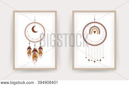 Dream Catcher With Rainbow And Moon In Boho Style.