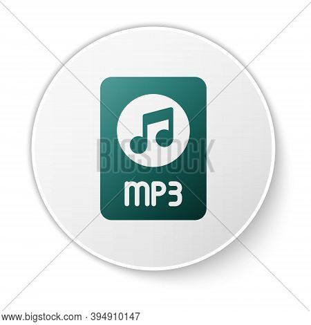 Green Mp3 File Document. Download Mp3 Button Icon Isolated On White Background. Mp3 Music Format Sig