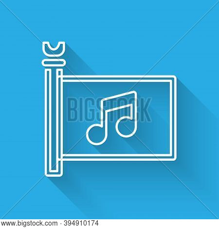 White Line Music Festival, Access, Flag, Music Note Icon Isolated With Long Shadow. Vector