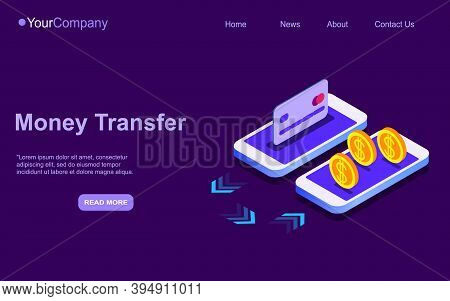 3d Isometric Web Banner Wallet And Credit Card Connected And Transfer Money To Smartphone. E-wallet