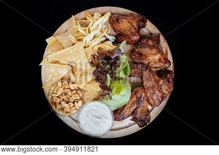 Snack For Beer, Grilled Chicken Wings, Cheese And Sauce