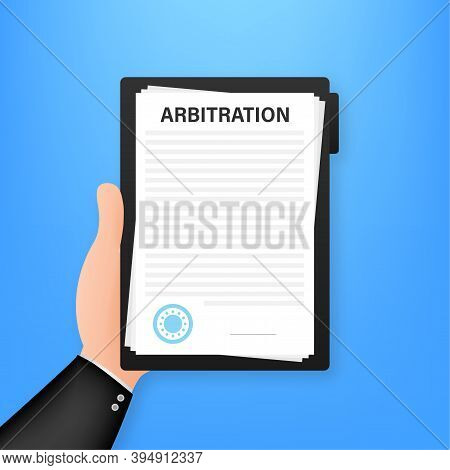 Arbitration Agreement. Legal Resolution Conflict. Vector Stock Illustration.