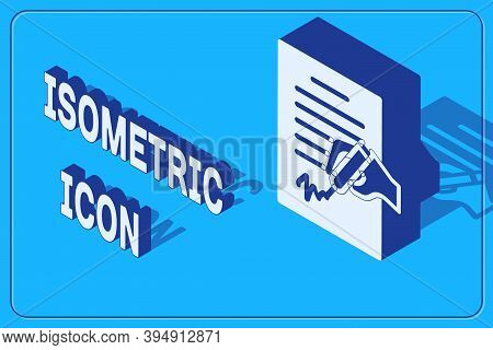Isometric Petition Icon Isolated On Blue Background. Vector