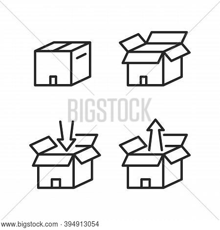Box Set Flat Line Icons. Vector Illustration Open And Close Cardboard Box With Inward Arrow And Outw