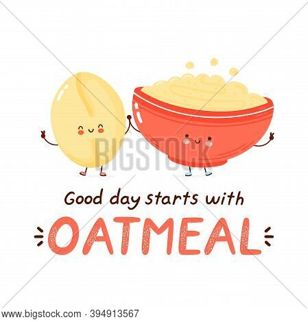 Cute Happy Funny Oatmeal Bowl. Isolated On White Background. Vector Cartoon Character Hand Drawn Sty