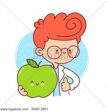 Cute Happy Doctor Hold Green Apple. Vector Flat Line Cartoon Kawaii Character Illustration Icon. Iso