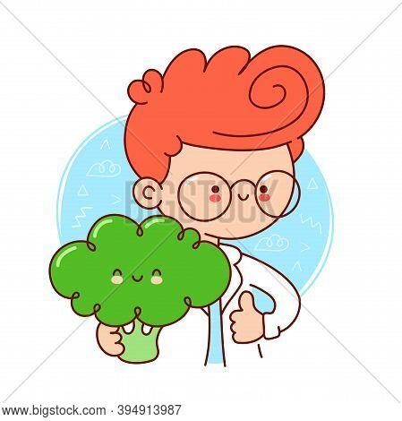 Cute Happy Doctor Hold Broccoli. Vector Flat Line Cartoon Kawaii Character Illustration Icon. Isolat