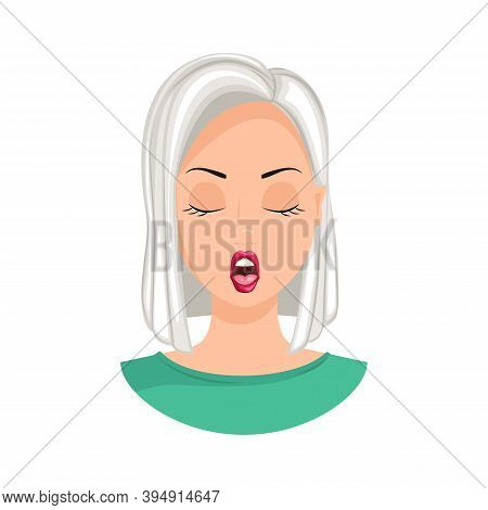 The Emotion Of Passion. Expression Of Passion On A Woman's Face, Passionate Woman. Vector Illustrati