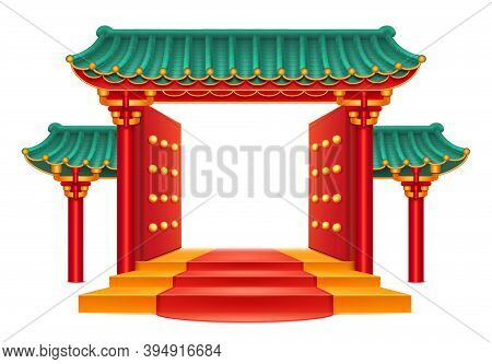 Entrance, Chinese Gate With Green Bamboo Roof Isolated Temple With Decorative Columns And Pillars. P