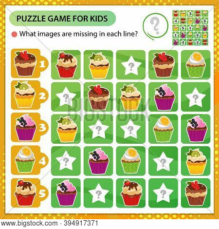 Sudoku Puzzle. What Images Are Missing In Each Line? Holiday  Cupcakes Or Muffins. Pastry And Bakery