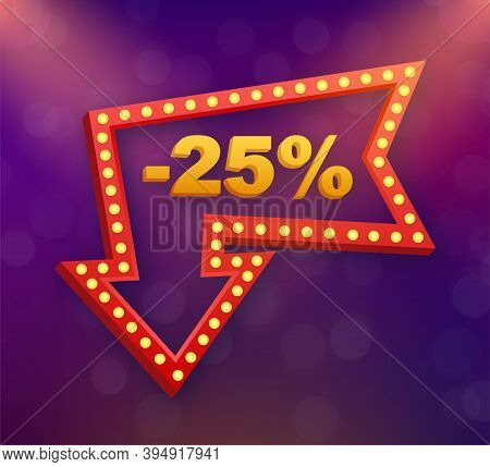 25 Percent Off Sale Discount Banner. Discount Offer Price Tag. 25 Percent Discount Promotion Flat Ic
