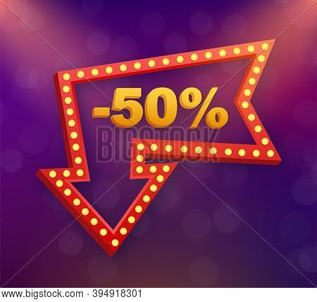 50 Percent Off Sale Discount Banner. Discount Offer Price Tag. 50 Percent Discount Promotion Flat Ic