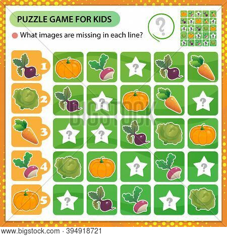Sudoku Puzzle. What Images Are Missing In Each Line? Vegetables. Cabbage, Carrot, Beet, Radish, Pump