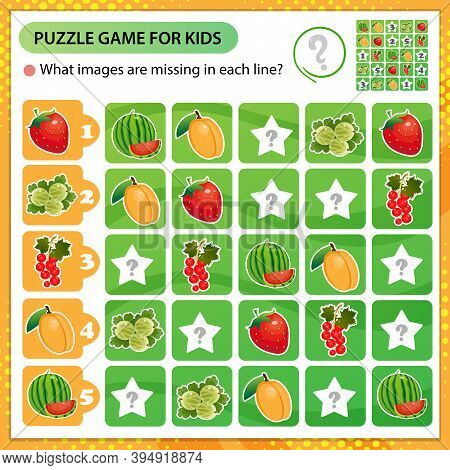 Sudoku Puzzle. What Images Are Missing In Each Line? Berries. Red Currant, Strawberry, Apricot, Wate