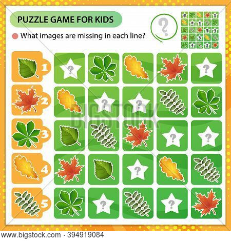 Sudoku Puzzle. What Images Are Missing In Each Line? Leaves Of Trees. Leaf Of Oak, Birch, Maple, Che