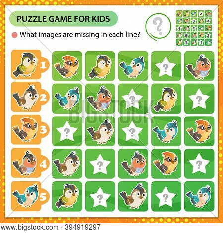 Sudoku Puzzle. What Images Are Missing In Each Line? Birds. Logic Puzzle For Kids. Education Game Fo
