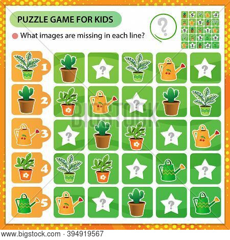 Sudoku Puzzle. What Images Are Missing In Each Line? Houseplants Or Indoor Plants. Logic Puzzle For